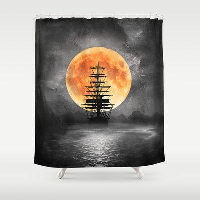 From The Moon Pirate Ship Shower Curtain Pirateshipshowercurtainglam