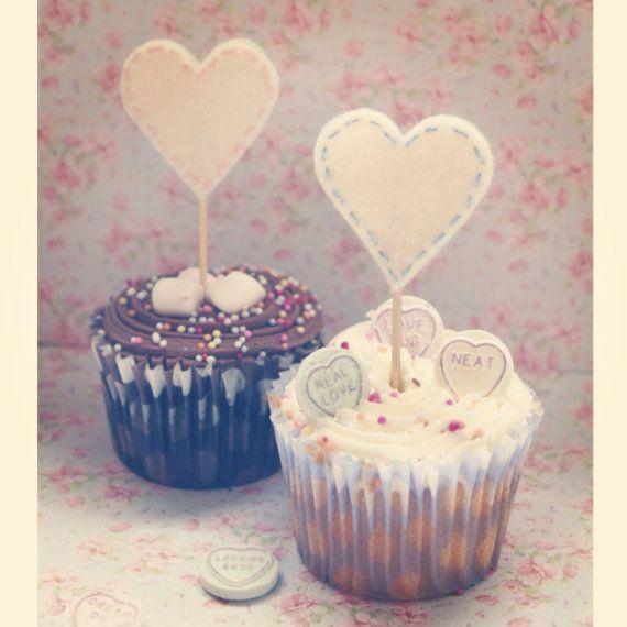 Handmade felt love heart cake toppers by DanniHumber on Etsy, £0.95