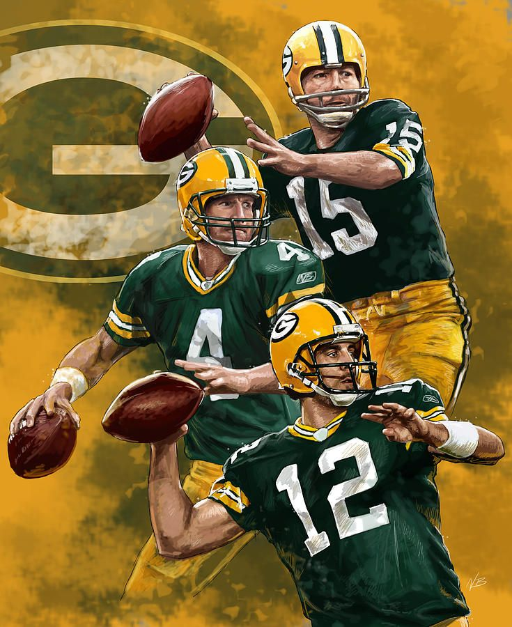 Green Bay Packers Quarterbacks By Nate Baranowski Green Bay Packers Wallpaper Green Bay Packers Art Green Bay Packers Vintage