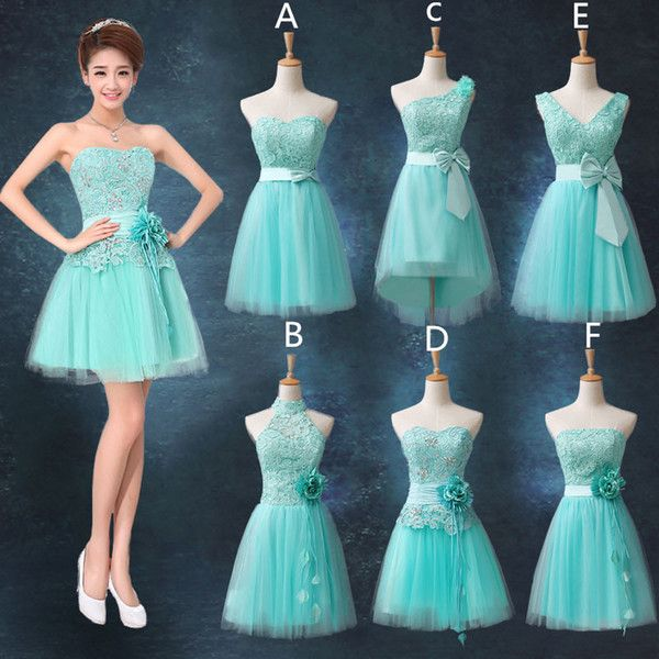 Lace Tulle Short Bridesmaid Dress Lace Up 2018 Ice Blue Pink