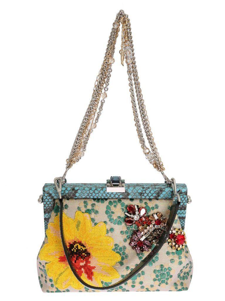 33ec61a223 Multicolor VANDA Floral Crystal Blue Snakeskin Bag - Dolce  amp  Gabbana  Absolutely stunning