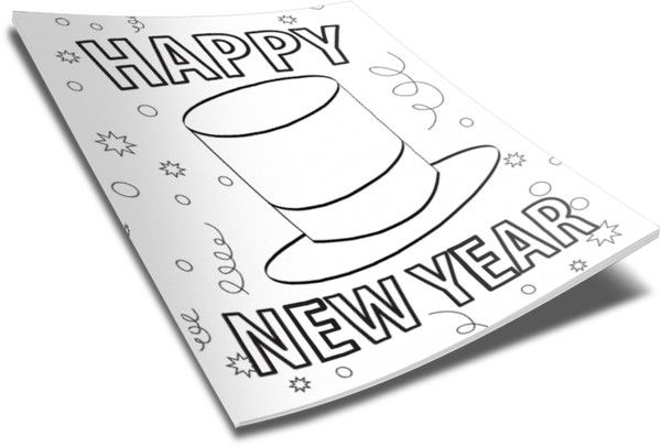 Happy New Year Top Hat Coloring Page New Year Coloring Pages