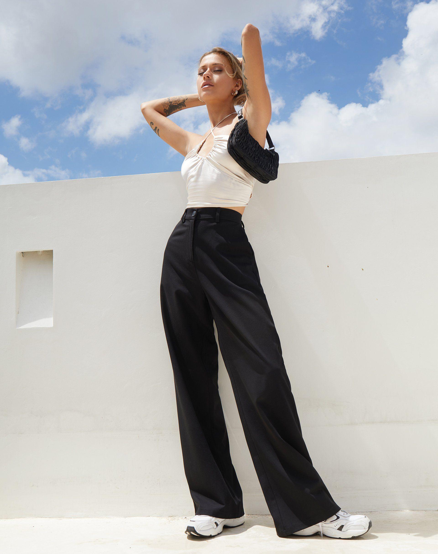 Abba Trouser In Black Black Wide Leg Trousers Outfit Wide Leg Trousers Outfit Black Wide Leg Trousers [ 2428 x 1920 Pixel ]