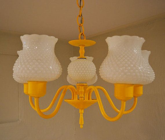 Painted yellow milk glass chandelier vintage revival milk glass painted yellow milk glass chandelier vintage revival aloadofball Images