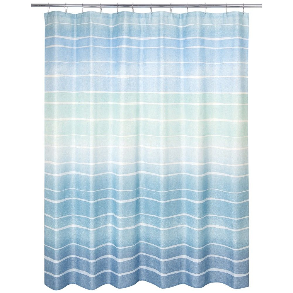Metallic Ombre Striped Shower Curtain Blue Allure Home Creations In 2020 Striped Shower Curtains Yellow Shower Curtains Ombre Shower Curtain