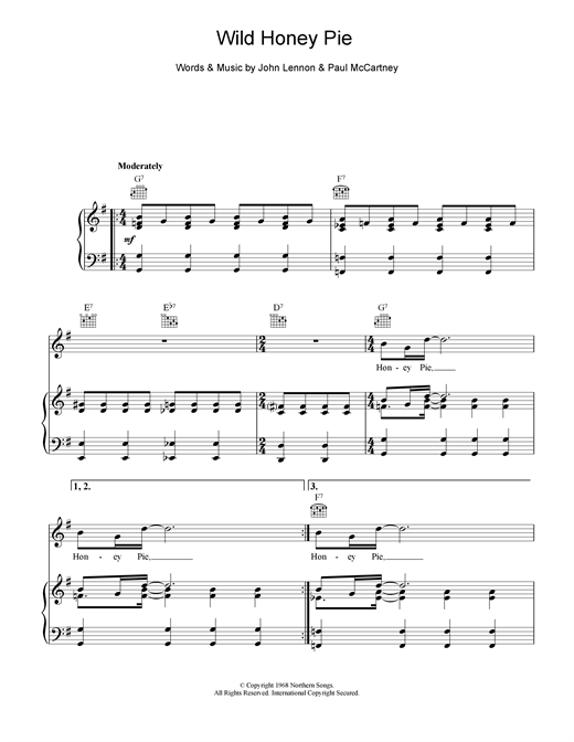 picture relating to Free Printable Broadway Sheet Music known as The Beatles Wild Honey Pie Sheet Songs Notes, Chords