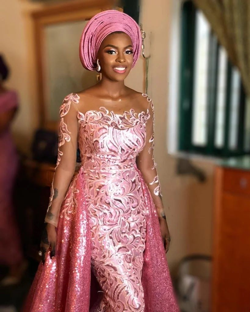 Wanna Be A Trendsetter 2020 Checkout These Eye Popping Aso Ebi Styles Esb Tv In 2020 Latest African Fashion Dresses Nigerian Lace Dress Lace Fashion
