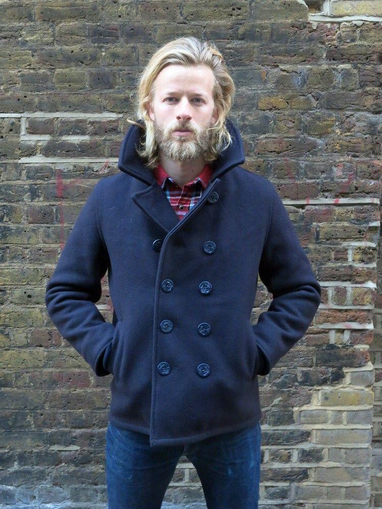 Iron Heart Melton Wool Navy Pea Coat 2014The Pea Coat design dates ...