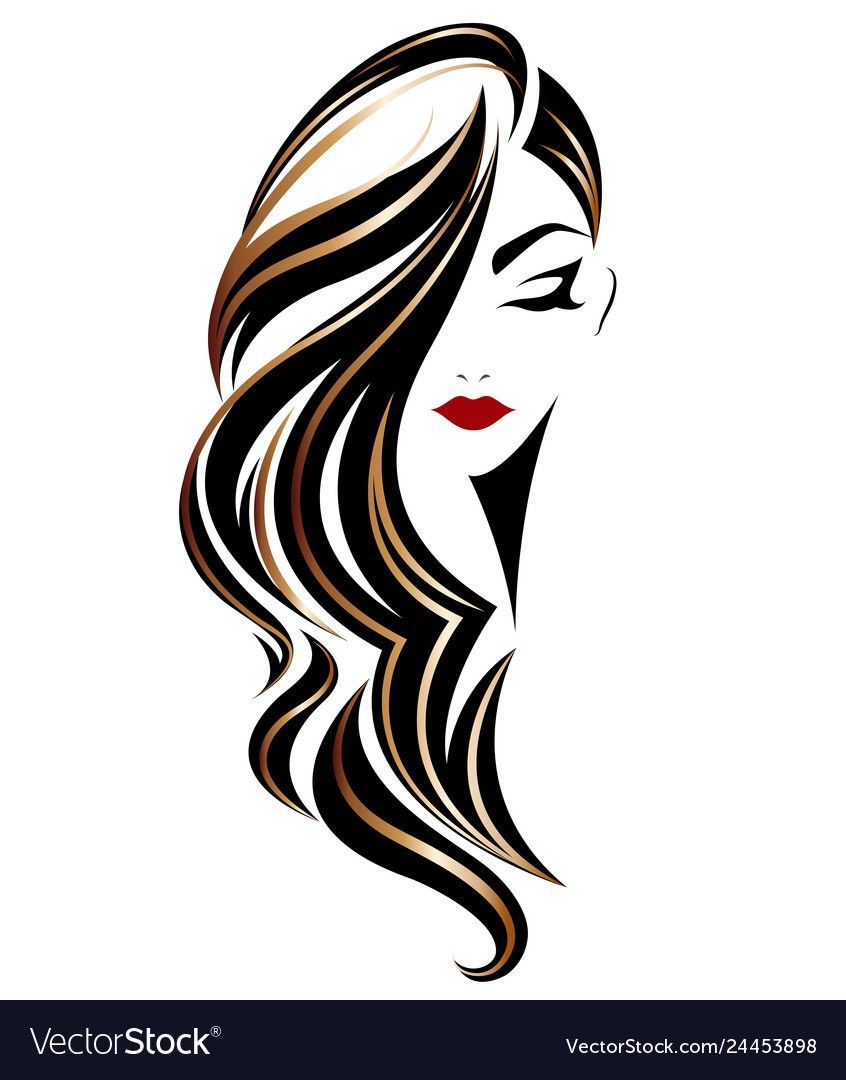Illustration Of Women Long Hair Style Icon Logo Women On White Background Vector Download A Free Previe Hair Illustration Hair Stylist Logo Design Hair Logo