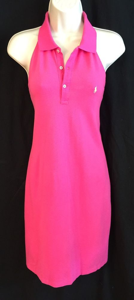 bb0e02094f7 Ralph Lauren Sport Polo Shirt Dress Medium Halter Pink Sleeveless Cotton  Knit