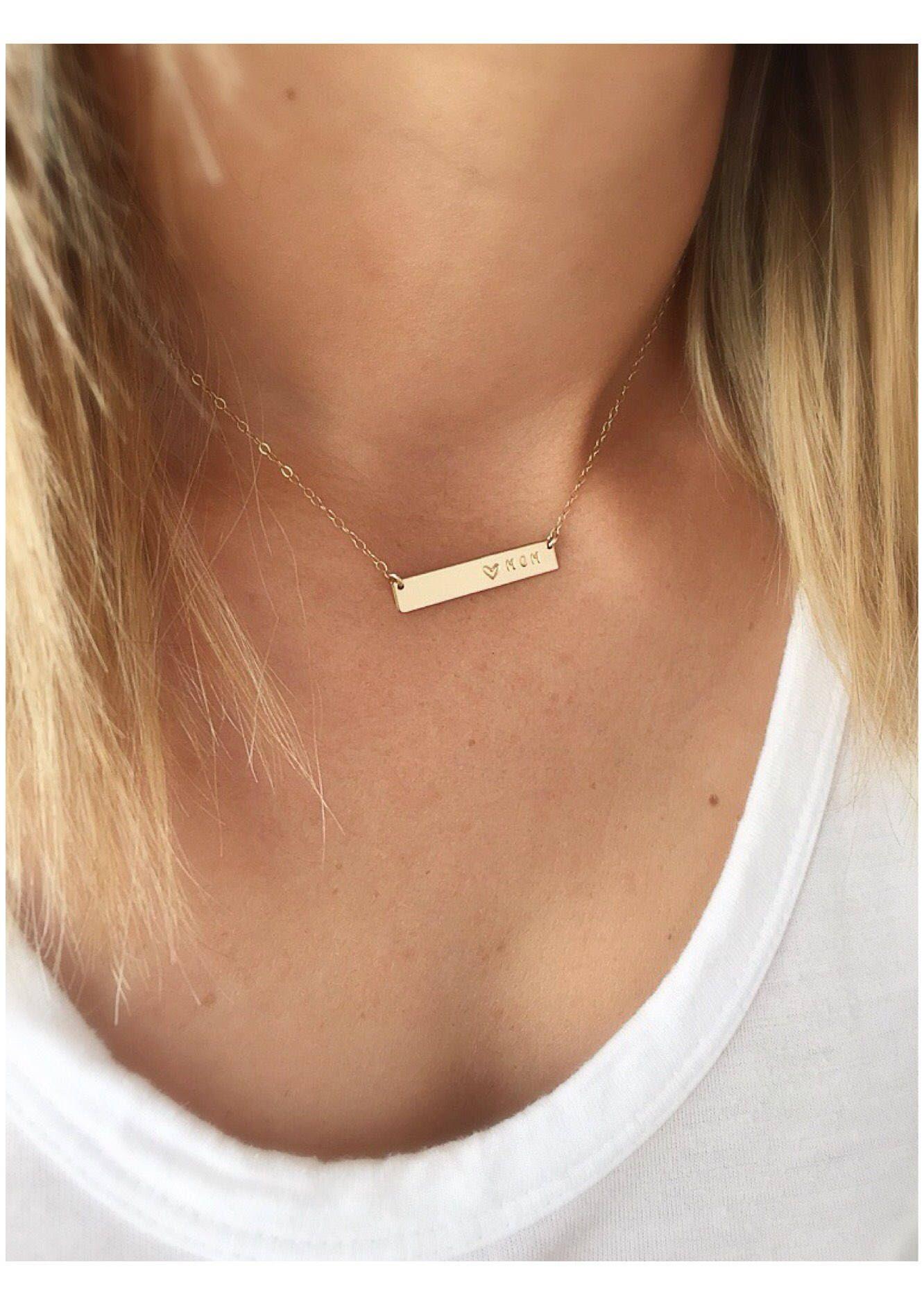 14k Gold Bar Necklace Dainty Gold Bar Necklace Custom Etsy Gold Bar Pendant Necklace Custom Bar Necklace Bar Necklace Personalized