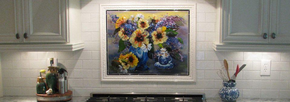 Tea Cup Floral Kitchen Backsplash In Fused Glass Designer Glass Mosaics Designer Glass Mosaics