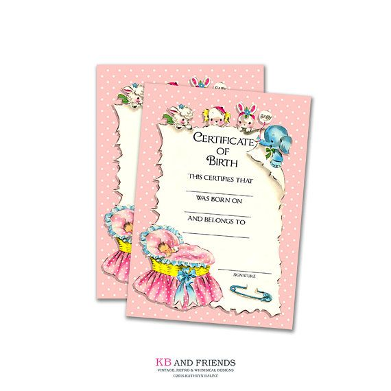 this adorable printable digital baby birth certificate by kb and friends can be used for