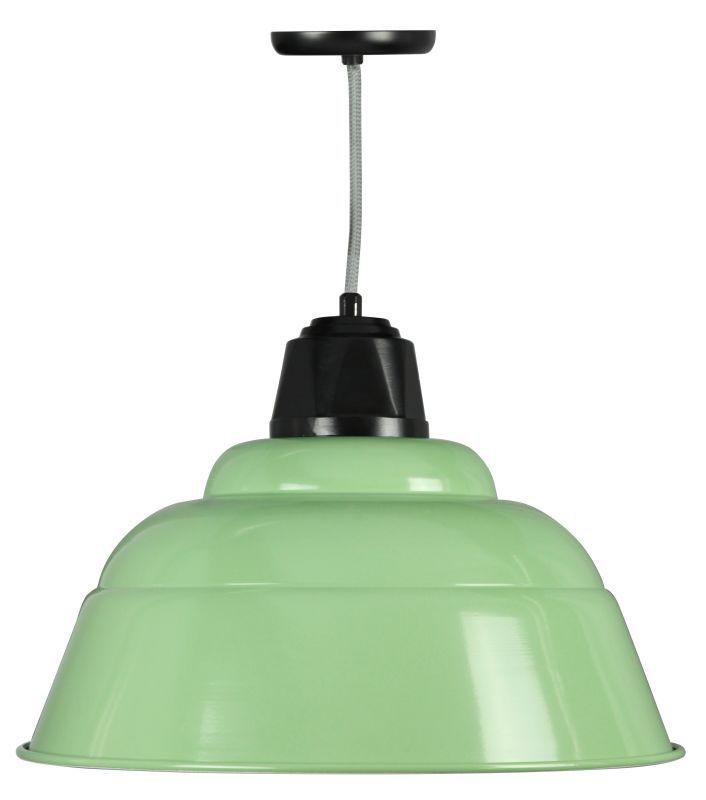 "ANP Lighting WDU520 Retropolitan 1 Light Contempo Barn Pendant - 20"" Diameter - Aspen Green / Black Indoor Lighting Pendants"