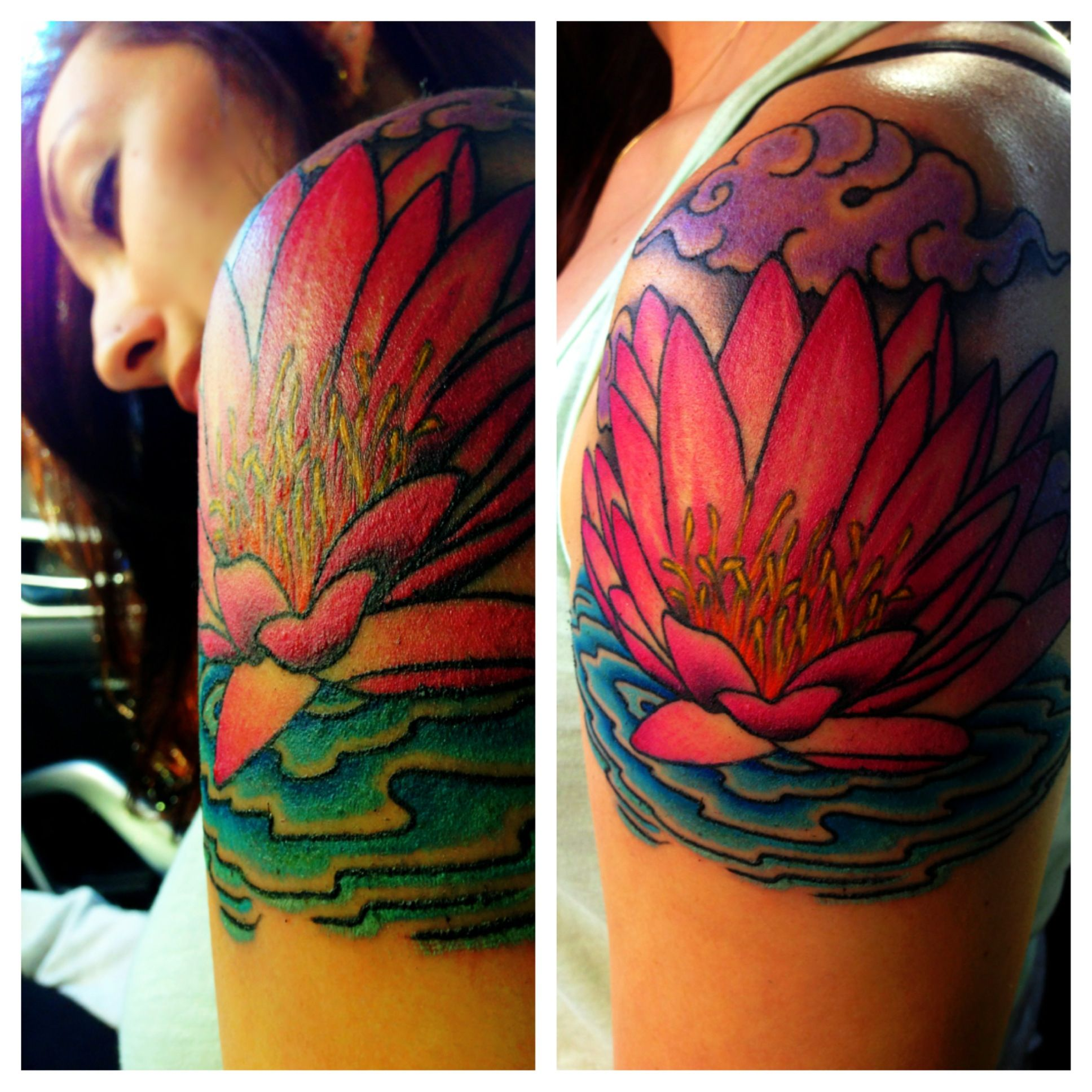 Water lily tattoo with Tibetan clouds By Dave Hartman Tattoos