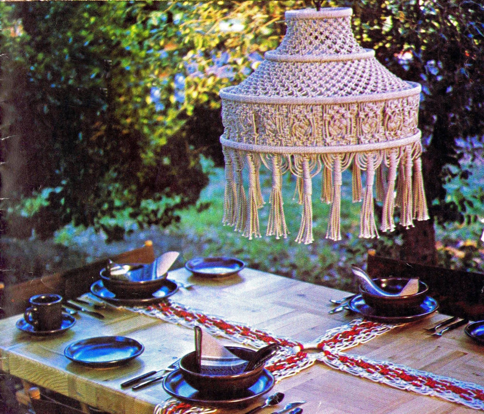 Vintage Macrame Pattern Tiffany Style Hanging Lamp 1970's