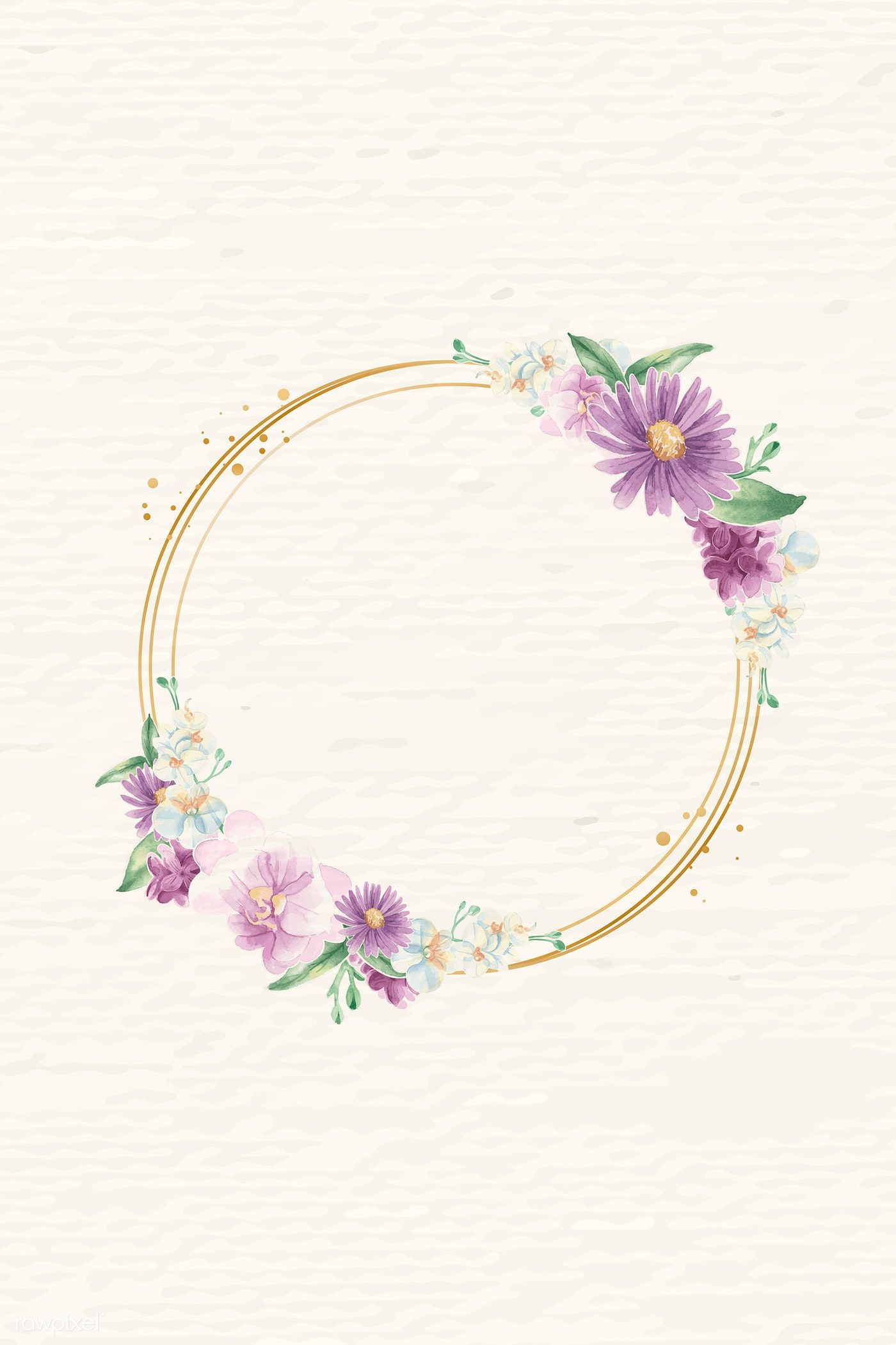 Download Premium Vector Of Round Gold Flower Frame Vector 937096 Flower Frame Flower Illustration Gold Flowers