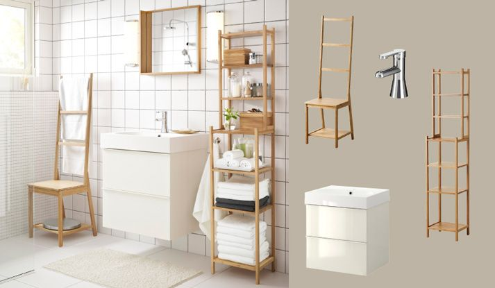 idee opfrissen badkamer - witte muren, witte kast onder wastafel en ...