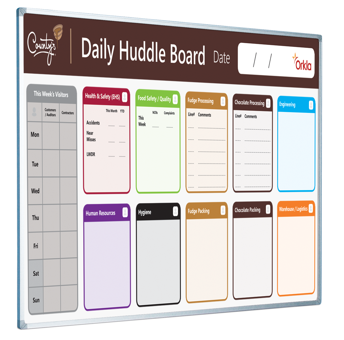 A huddle board is a standardised visual tool meant to help