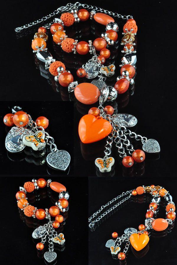 EasyPack kralenset halsketting ± 43-59cm, armband rekbaar, binnenmaat ± 18cm; allen van kunststof en porseleinen kralen
