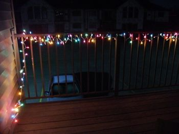 Colored christmas lights wrapped around deck railing in backyard colored christmas lights wrapped around deck railing in backyard mozeypictures Gallery