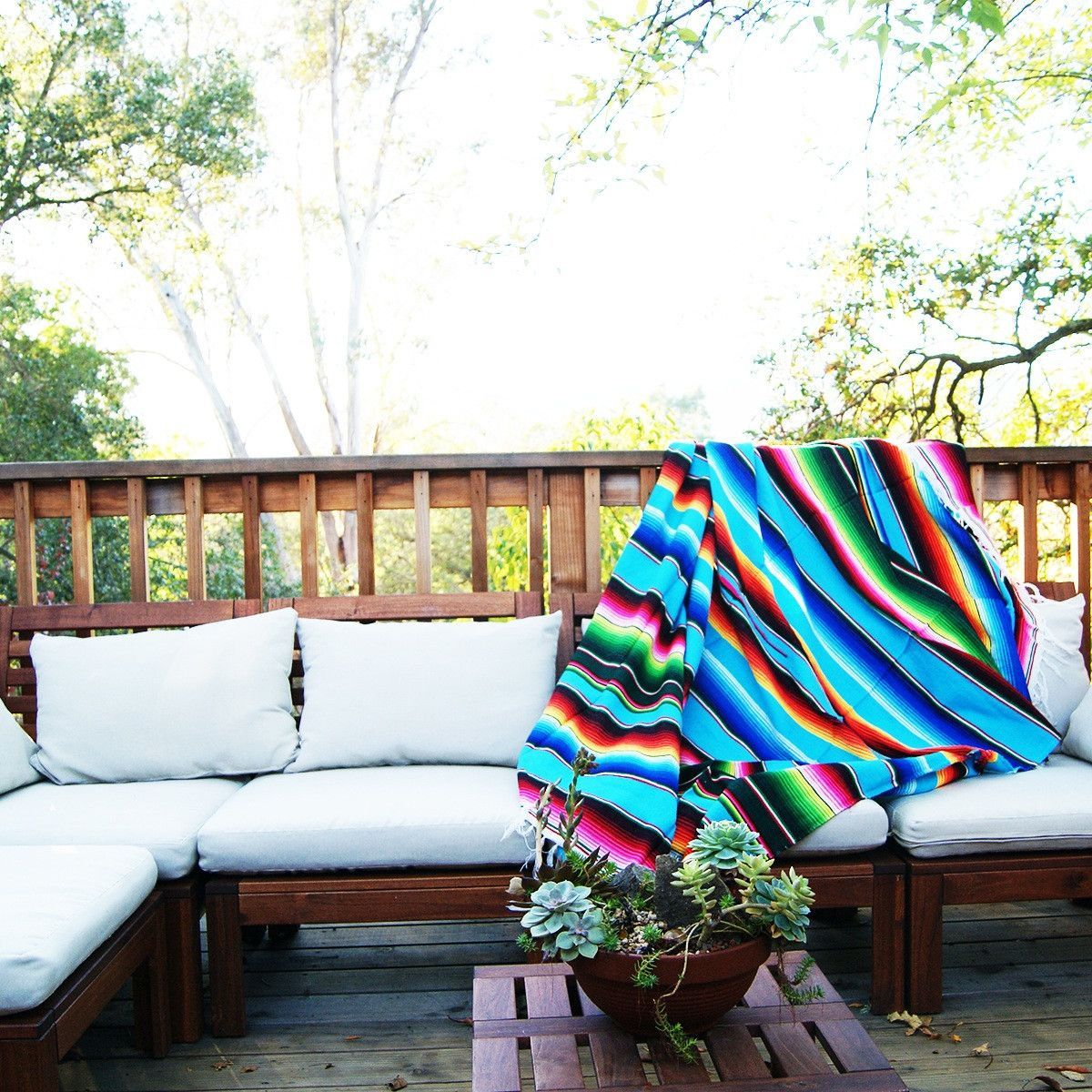 Turquoise Mexican Serape Blanket