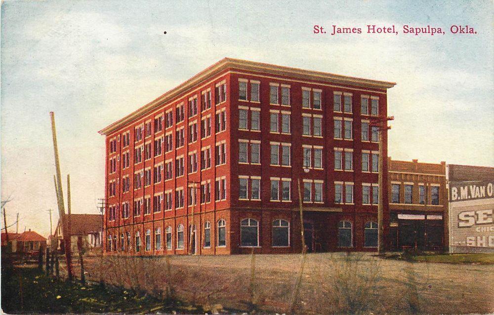 Vintage Postcard St James Hotel Sapulpa Ok Oklahoma Creek Or Tulsa County