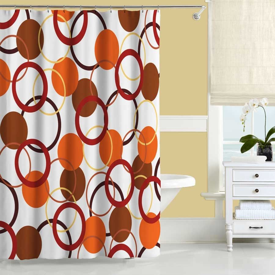 Orange bathroom decor - Burnt Orange Shower Curtain Set It Is A Well Established Fact That Shower Curtains And Bathroom Ensembles Go A Ways In Deco