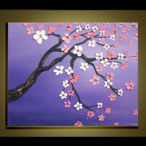 Cherry Blossom Tree Oil Painting Original Impasto Palette Knife Art On Canvas Ready To Ha Cherry Blossom Painting Cherry Blossom Painting Acrylic Tree Painting