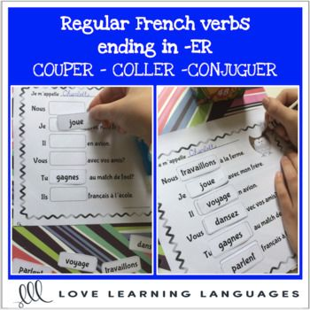 These cut and paste worksheets focus on present tense conjugations of regular ER French verbs. These five printable black and white worksheets are really useful for practicing subject verb agreement. Students love cutting, pasting, and coloring as you .