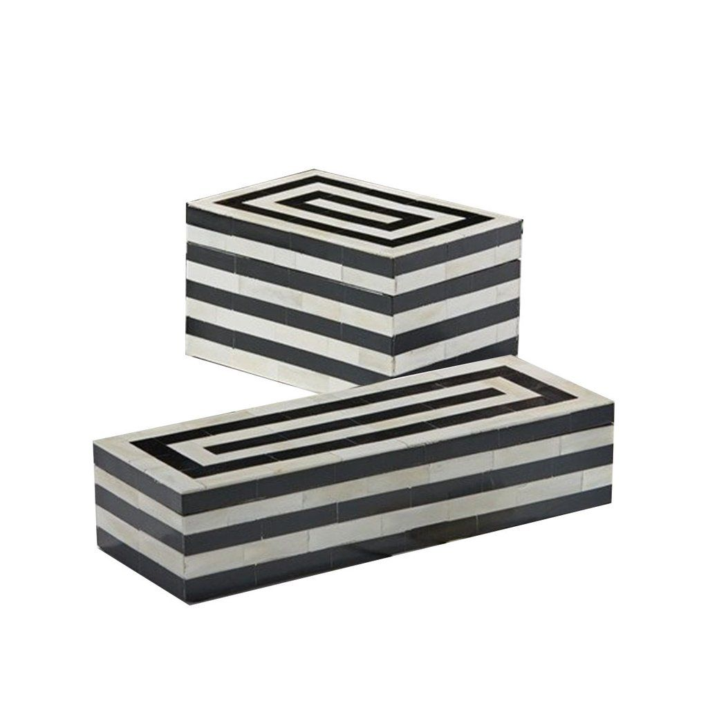Black And White Horn Striped Boxes Home Decor Accents Home