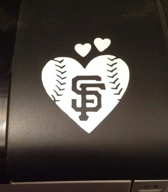 San francisco giants baseball heart vinyl car decal small