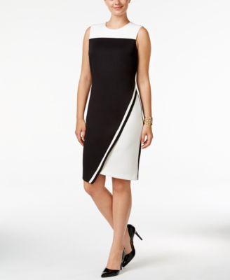 184b8271e67 TOMMY HILFIGER Tommy Hilfiger Colorblocked Asymmetrical Scuba Dress, Only  At Macy'S. #tommyhilfiger #cloth # dresses