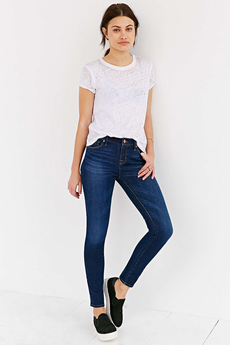 White t shirt deep blue jeans black and white Black shirt blue jeans