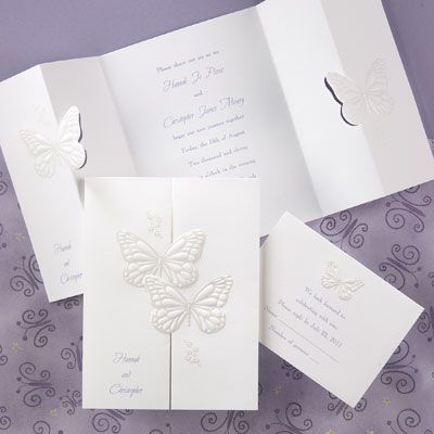 These two embossed butterflies white wedding invitations are