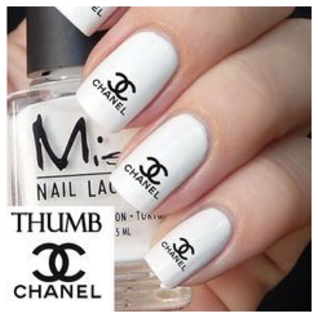 Chanel Nail Art White Color Chanel Sticker Beauty