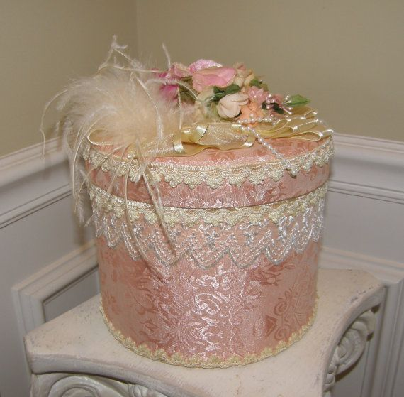 Vintage Hat Box Fabric Covered Victorian Style by Nicholettes, $22.00