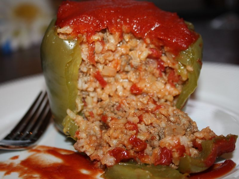 Stuffed Green Bell Peppers Red White And Blueberries Stuffed Peppers Stuffed Bell Peppers Recipes