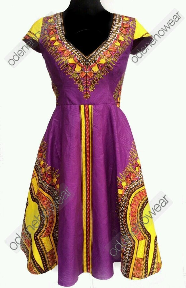 Odeneho Wear Ladies Fully Lined Dashiki Dress. African Clothing