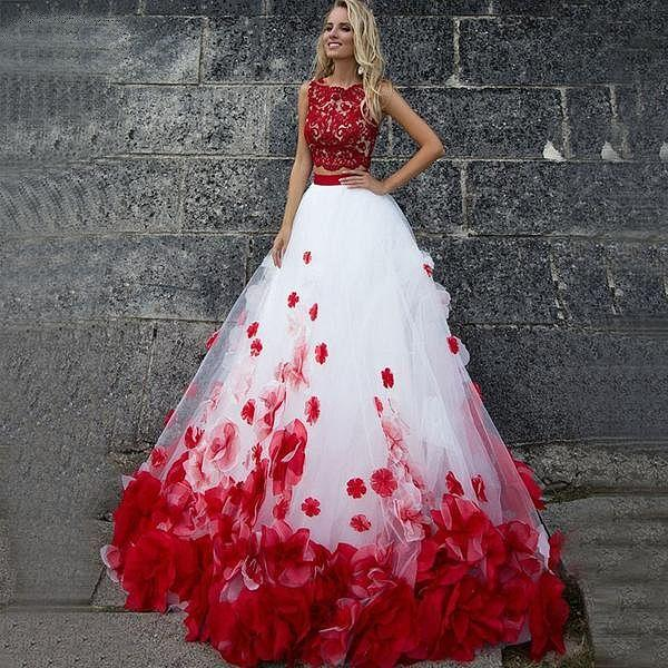 Plus Size White and Red Wedding Dress With 3D Flowers Ball ...
