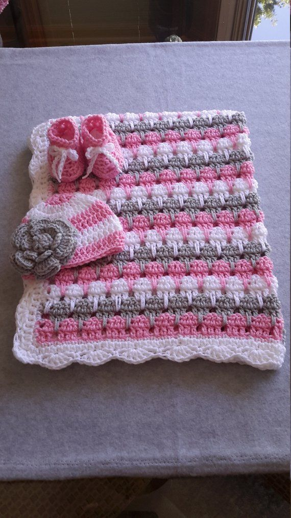 Photo of Items similar to baby girl blanket, crochet stripe, crochet blanket, afghan crochet, crocheted blanket, crocheted afghan, pink gray & white on Etsy