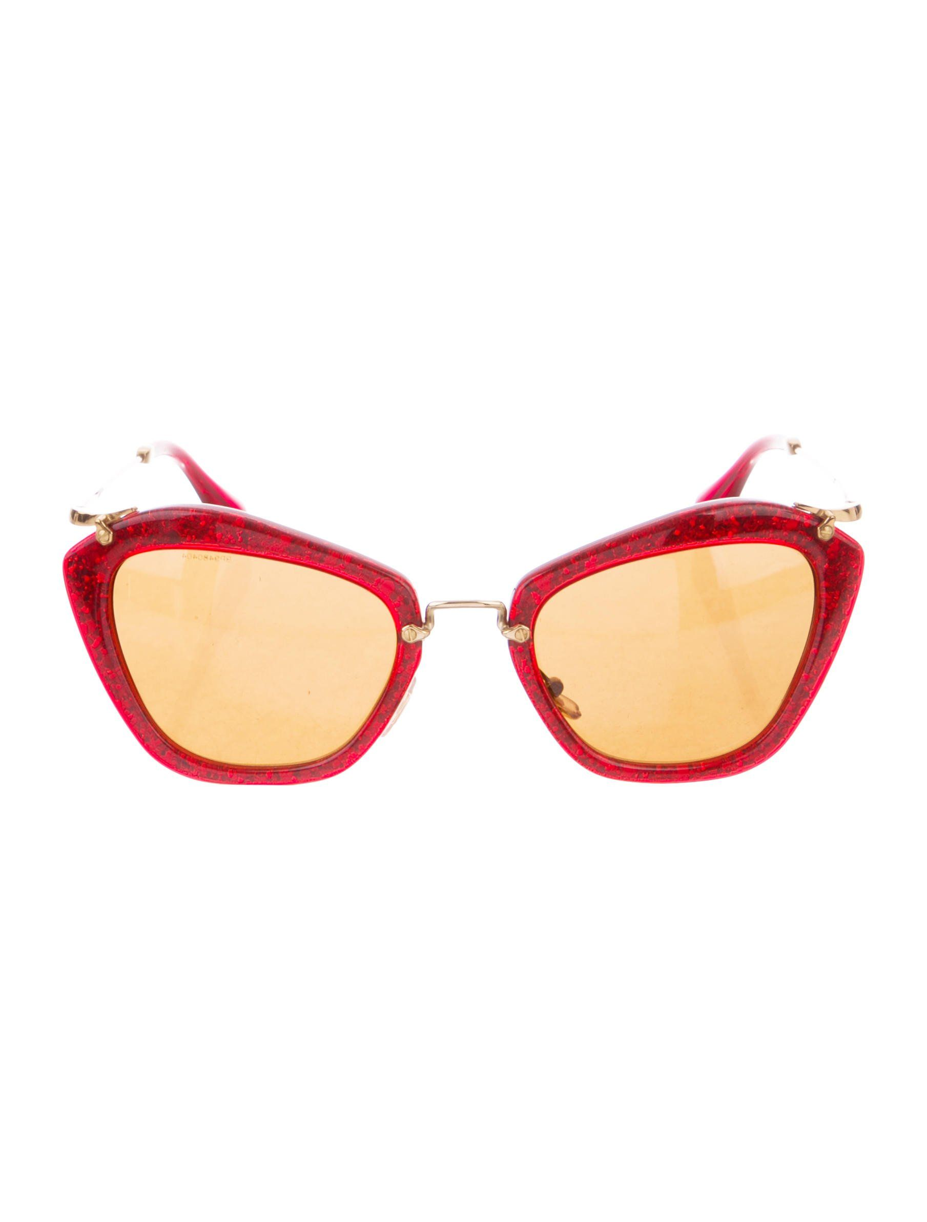 b48c18d11891 Red glitter Miu Miu Noir cat-eye sunglasses with gold-tone hardware and  tinted