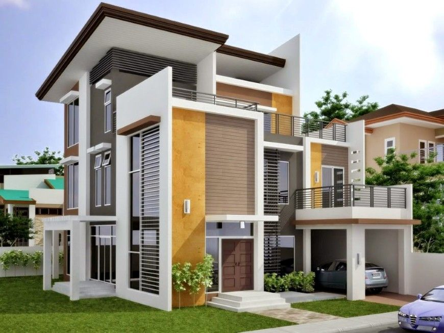 Modern House Building With Pretty Exterior Color Scheme Idea