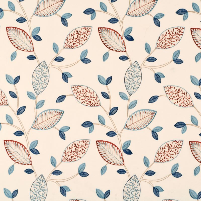 Embroidery Blue Cream Home Fabric By Baker Lifestyle Item