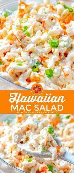 Dieses Rezept für einen klassischen hawaiianischen Makkaroni-Salat hat ein köstliches cremige... #hawaiianfoodrecipes