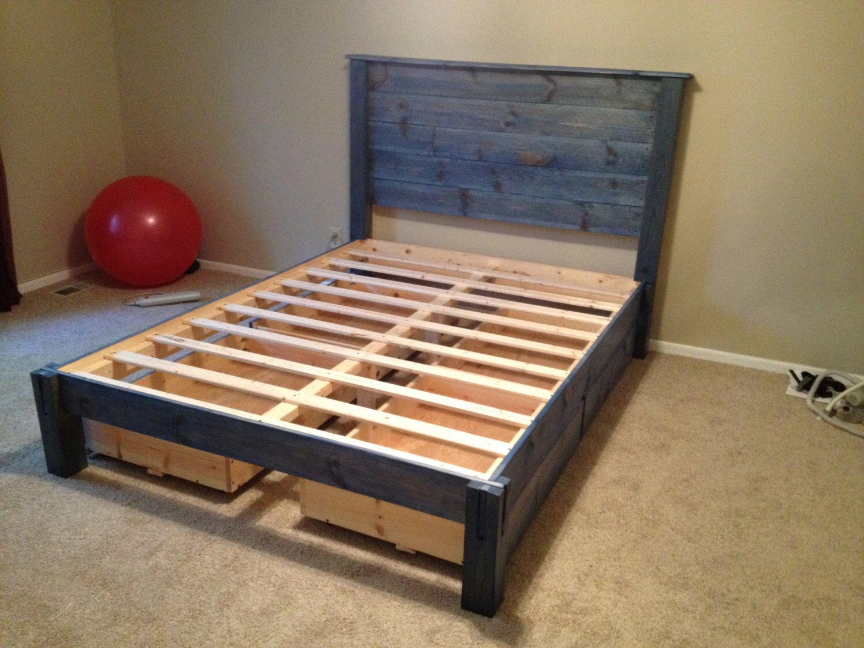 Custom Platform Bed with Headboard by DBWoodWorx on Etsy https://www.etsy.com/listing/278889000/custom-platform-bed-with-headboard