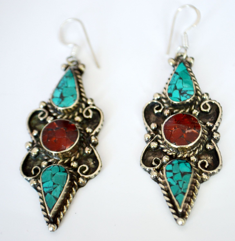 Silver Turquoise Earrings,hmong Nepal Jewelry,vintage Silver Antique  Earrings Afghan Jewelry, Mosaic Jewelry By Taneesi