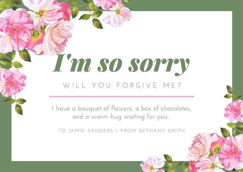 Customize 34 Apology Cards Templates Online Canva In Sorry Card Template Sorry Cards Apology Cards Card Template