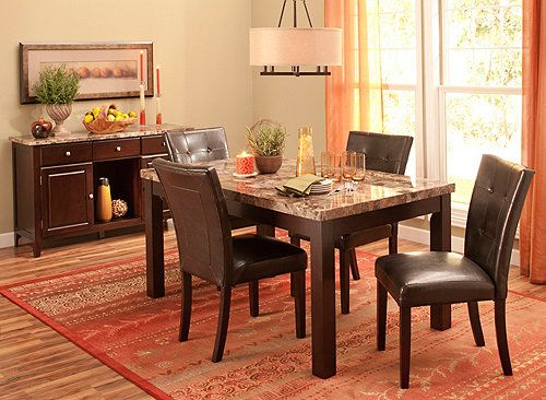 Bedrock 5 Pc Marble Dining Set, Raymour And Flanigan Dining Room Sets