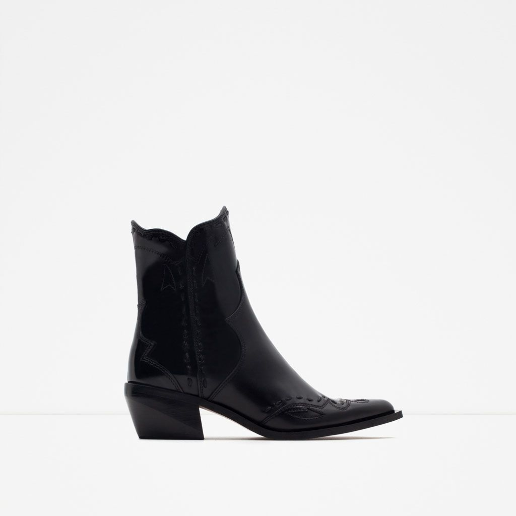 5860bf67a9e Image 1 of FLAT LEATHER COWBOY ANKLE BOOTS from Zara | GIVE ME THAT ...